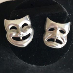 Comedy Tragedy Masks Sterling Earrings